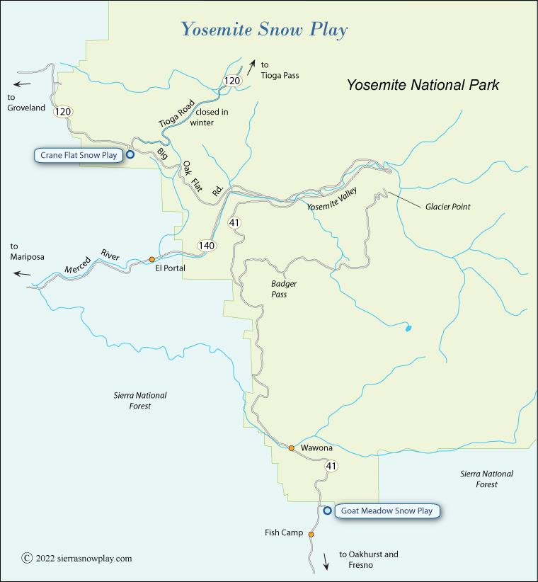 Yosemite Snow Play Map